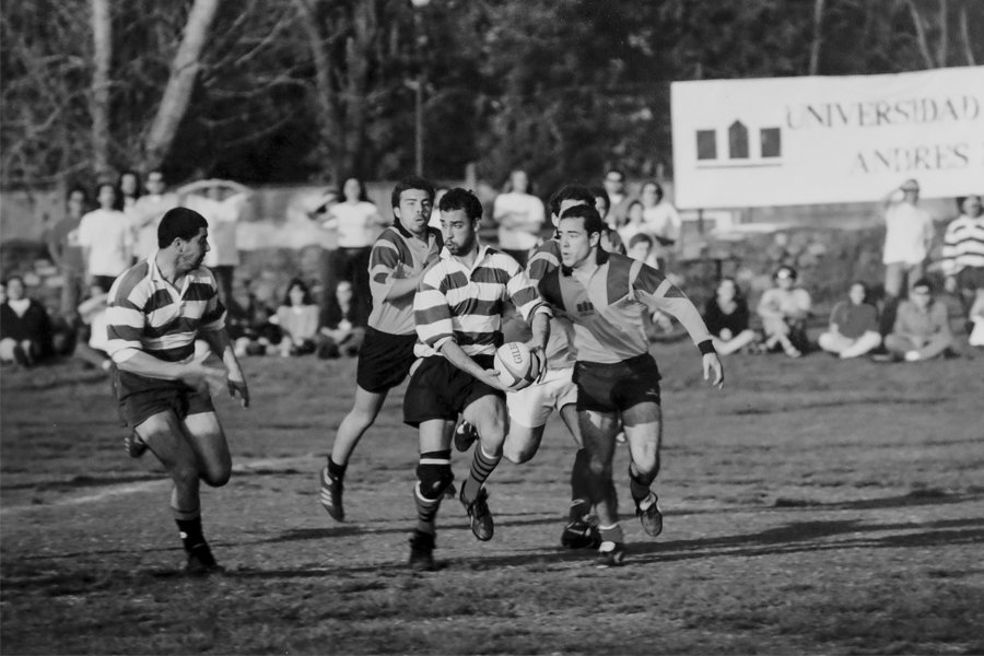 Partido de rugby en finales universitarios (Campus Casona, 1997).